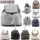NEW LADIES FALABELLA STYLE FAUX LEATHER CHAIN TRIM DRAWSTRING BACKPACK