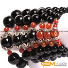 Handmade Black Onyx Agate Mala Prayer Rosary Stretchy Bracelet For Men Women 7""
