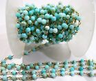 1 Foot- Natural Blue Opal Smooth Beaded Chain, Peruvian Opal Rosary Chain 4-5mm.