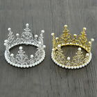 "Mini Crown Cake Topper Pearl Crystal Wedding Party Pageant Prom 4.7"" Wide 2.8"" H"