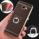 New Plating Bumper Soft Leather Finger Ring Holder Stand Case Cover for Samsung