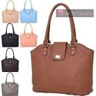 NEW LADIES FAUX LEATHER GRID PATTERN GOLD CLASP DETAIL SHOPPER TOTE BAG