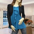 Blue black ruffle cardigan style high quality blouse top shirt 1559 Size S M