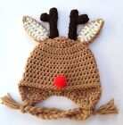 CROCHET DEER  BABY EAR FLAP HAT knit infant toddler cap beanie  photo prop