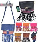 NEW WOMENS FAUX LEATHER FLAP TRIBAL PATTERN FRINGE SMALL HIPPIE SHOULDER BAG