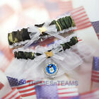 US Air Force w/USA Flag charms camouflage camo bridal garters prom garter set