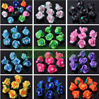 10pcs/50pcs Mixed Fimo Carved Rose Flower Polymer Clay Resin Loose Spacer Beads