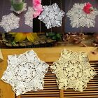 Внешний вид - 4Pcs Vintage Handmade Crocheted Lace Doilies Flower Coasters Placemat 22cm/8.6''