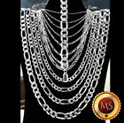 "ITALY 925 SOLID Sterling Silver FIGARO Chain Necklace  18"" - 30""  .925"