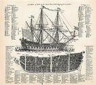 1728 A Ship of War with Rigging at Anchor Nautical Home Decor Art Print Poster