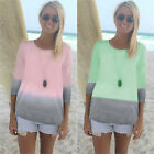 Womens Ombre 3/4 Sleeve T Shirt Crew Neck Loose Casual Tops Tee Blouse Plus Size
