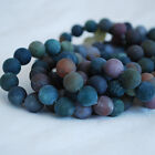 Grade A Natural Indian Agate Matte Frosted Gemstone Round Beads 4mm 6mm 8mm 10mm