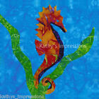 Brown SEAHORSE Fabric Quilt Square Blue Ocean Green Sea Kelp Tropical Hawaiian