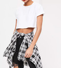 MISSGUIDED roll sleeve cotton crop top white (M29/6)