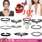 10Pcs Choker Necklace Set Stretch Velvet Gothic Necklace Girls Jewelly Retro UK
