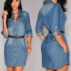 Fashion Women Denim Short Mini Dress Jean Long Sleeve Casual Party Shirt Dress