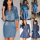 fashion dress - Fashion Women Denim Short Mini Dress Jean Long Sleeve Casual Party Shirt Dress