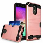 For LG Cell Phone [Card Slot Wallet Case] Brushed Design Rugged Armor Cover Skin