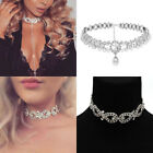 Wrap Silver Necklace Crystal Choker Diamond Bling Rhinestone Layer Drop Collar
