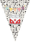 VW Camper Van Style Bunting various colours and styles 6 flags hand crafted