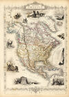 1851 Map North Central America Vintage History Wall Poster Home School Office