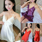 Silk Satin Night Dress Sleeveless V-neck Nightgown Lace Sleepwear for women $6.02 USD