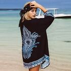 New Fashion Women Casual Front Open Long Sleeve Long Prints Loose Chiffon N98B