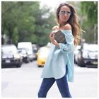 DA40 Blue Off the  Shoulder Stretch Tie Sleeve Long Tunic Top Blouse