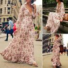 Women Casual Deep V-Neck Boho Bohemian Style High Waist Long Sundress Dress N98B
