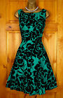 NEW EXCHAINSTORE GREEN BLACK FLORAL PARTY PROM COCKTAIL DRESS VINTAGE STYLE 8 18