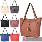 WOMENS NEW HIGH QUALITY PU LEATHER FRONT TASSEL DETAIL TOTE SHOULDER BAG