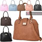 WOMENS NEW PU LEATHER METAL LOCK BOWLING SHOULDER CROSSBODY BAG