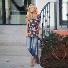 Women's Casual Floral Short Sleeve Summer Fashion Casual T-shirt Tops Blouse