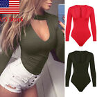 US Womens Choker V Neck Long Sleeve Bodycon Bodysuit Jumpsuit Leotard Top New