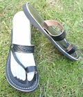 100% MOROCCAN LEATHER  TOE LOOP BEACH SANDALS BLACK * 4 sizes available