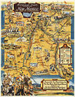 Early Pictorial Map Historical Trails Through New Mexico Wall Art Poster Vintage