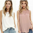 Women Lace Sleeveless Whole Colored Simple Shirts Summer White Pink
