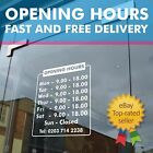 Opening hours times - A4 Shop Window Door Vinyl Sign Sticker Customised
