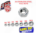 A4 Marine Grade Full Hex Nuts Stainless Steel DIN934 M2 M3 M4 M5 M6 M8 M10