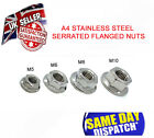 METRIC FLANGE NUTS A4 STAINLESS STEEL HEX SERRATED METAL NUT M5 M6 M8 M10
