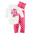 3pcs Newborn Baby Boy Girl Kids Cute Cartoon Romper Hat Pant Bodysuit Outfits