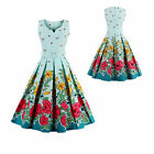 Women's 1950s 60s Hepburn Vintage Floral Sleeveless Cocktail Party Swing Dress