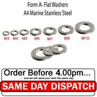 A4 WASHERS STAINLESS STEEL FORM A TO FIT OUR BOLTS AND SCREWS  M3-M10