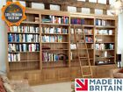 Traditional Solid Oak 8ft x 14ft Library Display Bookcase with Ladder & Doors