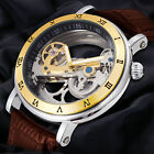 Mens Classic Luxury Leather Band Dial Automatic Mechanical Skeleton Wrist Watch