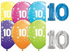 Age 10 - Happy 10th Birthday Qualatex Balloons {Helium Party Balloons Boy/Girl}