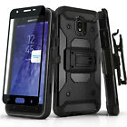 for SAMSUNG GALAXY J7 CROWN/STAR/REFINE (2018), Tank Phone Case & Holster +Glass