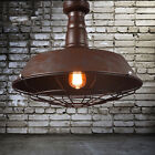 Industrial Nautical Barn Ceiling Light Rust Wire Guard Semi Flush Pendant Light