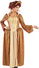 Ladies Golden Regal Tudor Queen Fancy Dress Costume Outfit UK 8-26 Plus Size