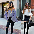 Women's Ladies Summer Loose Tops Long Sleeve Shirt Casual Blouse T-Shirt